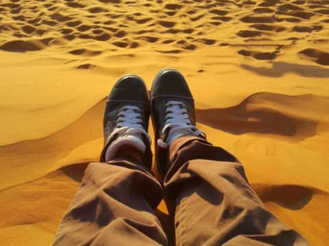 relax peacefu golden sands sahara tired sunset shoes merzuga morocco