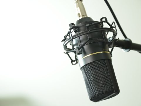 Voiceover dubbing act singing microphone