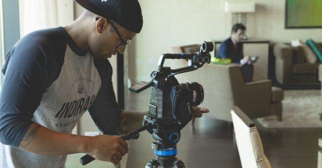 video equipment film-making staff