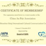 Au pair in China - certificate