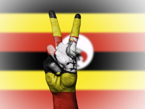 uganda, peace, hand, nation, background, banner, colors, country